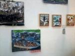 Heidi Mühlschlegel: Collagen mit Flickwerk an Flüchtlingsbooten und Malerei